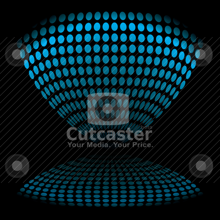 Egg timer distort stock vector clipart, Abstract blue and black icon reflected on a black background by Michael Travers