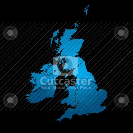 Uk map blue divide stock vector clipart, Blue map of the uk divided in two with a shadow and black background by Michael Travers