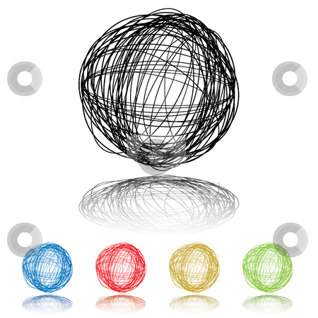 Five scribble stock vector clipart, Scribble ball with five color variations and drop shadow by Michael Travers