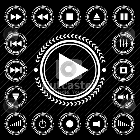 Mono control stock vector clipart, Black and white electronic control icon buttons with arrow border by Michael Travers
