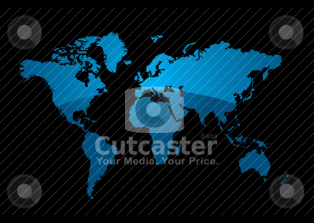 World divide stock vector clipart, World map on a black background with a modern blue gradient by Michael Travers