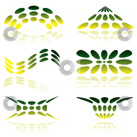 Green mesh logo stock vector clipart, Shades of green illustrated logo with reflected shadow by Michael Travers