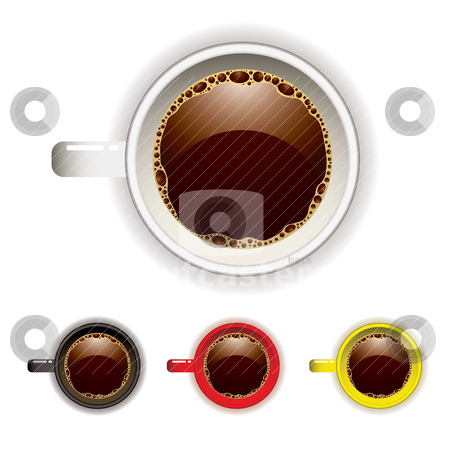 Coffee cup top stock vector clipart, Top view of a coffee cup with four color variations by Michael Travers