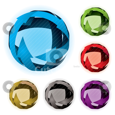 Variation arrow ball stock vector clipart, Collection of arrow balls with colour variation and glow by Michael Travers