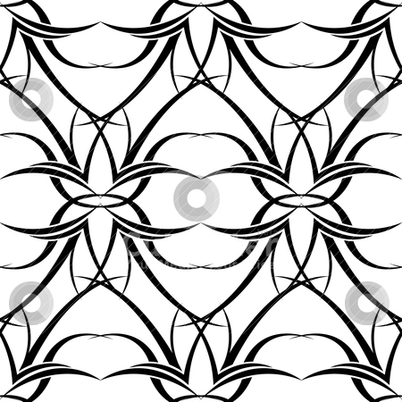 Black n white tattoo wallpaper stock vector clipart, Black and white seamless repeating modern tattoo background design by Michael Travers