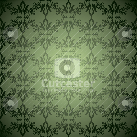 Green wallpaper stagger stock vector clipart, Green and black old fashioned wallpaper design with seamless pattern by Michael Travers