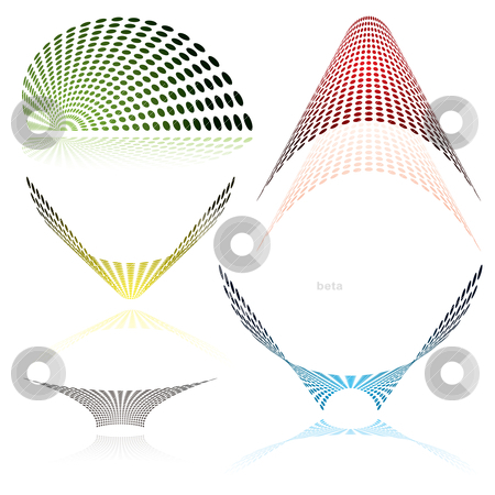 Drid mesh color stock vector clipart, Colorful abstract icons with drop shadow with a mesh grid by Michael Travers