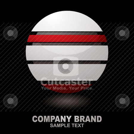 Icon droid dark stock vector clipart, Silver three dimensional icon with red bands and shadow by Michael Travers
