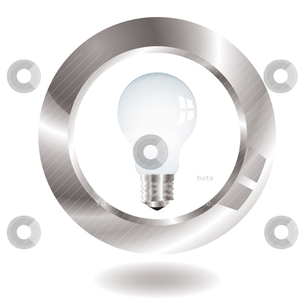 Lightbulb surround stock vector clipart, Old style light bulb with metal surround and drop shadow by Michael Travers
