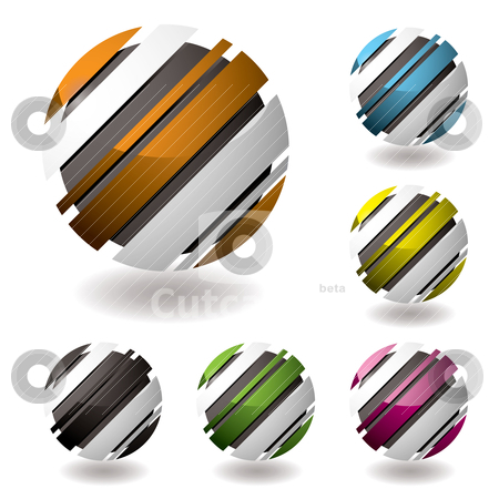 Droid icon variation stock vector clipart, Business 3d icons with shadown and six color variations by Michael Travers