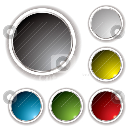 Buttons white bevel stock vector clipart, Six button set with white bevel and various colored inserts by Michael Travers