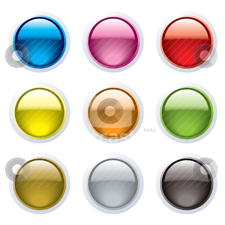 Gel button rim stock vector clipart, Set of nine gel filled buttons with a white surround and reflection by Michael Travers