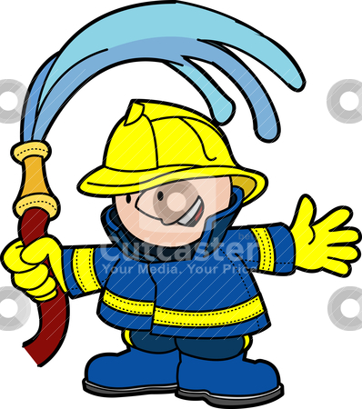 Illustration of fireman stock vector clipart, Illustration of fireman holding water hose by Christos Georghiou