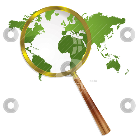 Magnify world stock vector clipart, Green world map with magnifying glass and drop shadow by Michael Travers