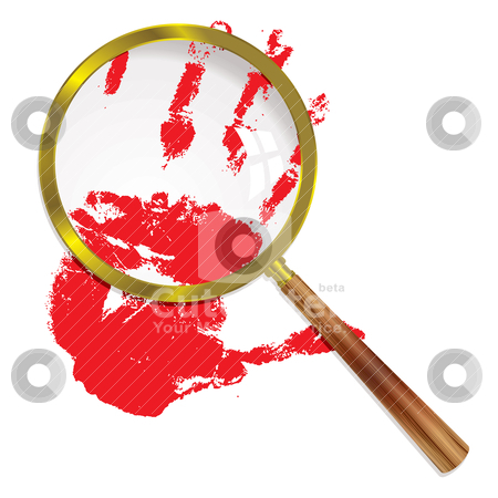 Magnify blood stock vector clipart, Close up of a bloody hand under a magnifying glass with wooden handle by Michael Travers