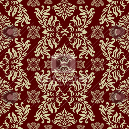 Maroon gothic stock vector clipart, Maroon seamless repeat design with a floral themed background by Michael Travers