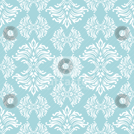 Cyan floral curl stock vector clipart, Light blue floral background with flowing design that repeats by Michael Travers