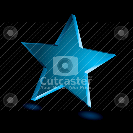 Transparent star stock vector clipart, Blue star with transparent effect with shadow and blue background by Michael Travers