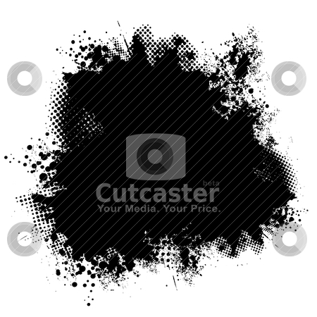 Ink black halftone stock vector clipart, Black ink round background image with halftone dots and spray by Michael Travers