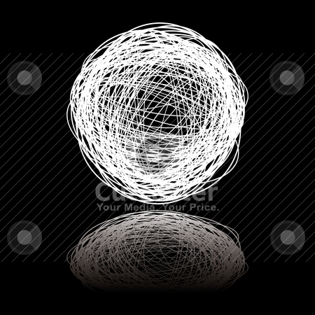 White scribble stock vector clipart, White ball of white string on a black background with reflection by Michael Travers