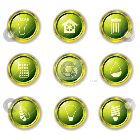 Eco buttons gold stock vector clipart, Environmental Buttons in green with metal gold rims and drop shadow by Michael Travers