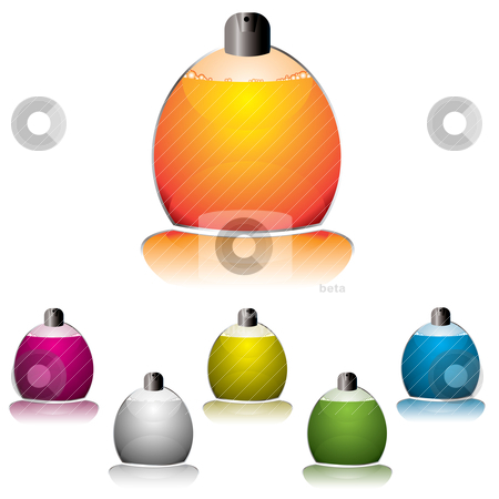 Perfume icon stock vector clipart, Perfume icon collection with glass bottle spray and shadow by Michael Travers