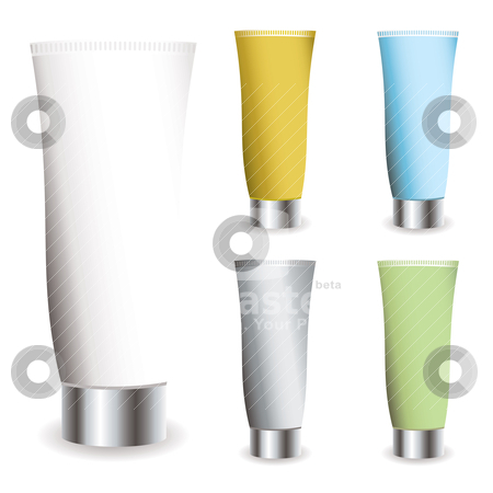 Cosmetics cream stock vector clipart, Cosmetic cream collection in different colred tubes with shadows by Michael Travers