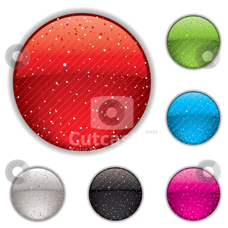 Gel button speckle stock vector clipart, Gel button with sparkle spots and outer shadow in multi colors by Michael Travers