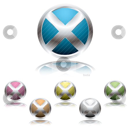 Cross button shadow stock vector clipart, Metallic cross icon button with reflected shadow in colour variations by Michael Travers