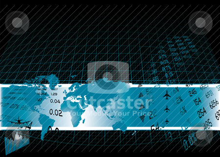 Financial world stock vector clipart, Black background with a financial theme and world map by Michael Travers