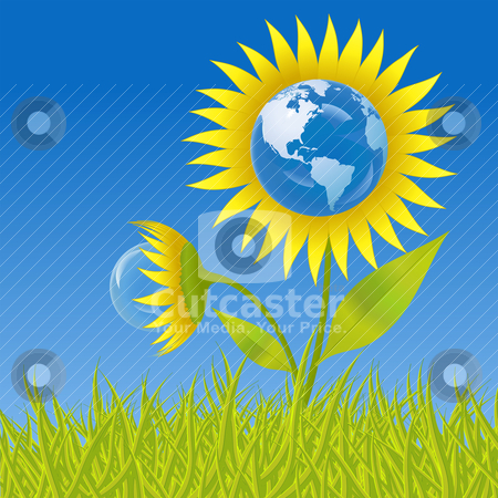 Earth flower stock vector clipart, Earth flower, a conceptual illustration for ecology by Laurent Renault