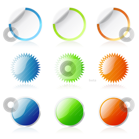 Round Stickers stock vector clipart, Glossy round stickers by Laurent Renault