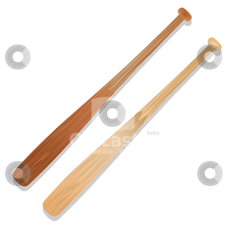 Baseball bats stock vector clipart, Two illustrated baseball bats with shadow and wood grain by Michael Travers