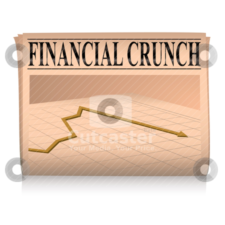 Newspaper pink financial graph stock vector clipart, Financial paper showing a graph of the credit crunch with sales down by Michael Travers