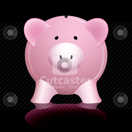 Pink piggy bank stock vector clipart, Pink piggy bank reflected on a shiny black background by Michael Travers