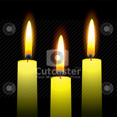 Bright three stock vector clipart, Three burning candles with yellow wax and outer glow by Michael Travers
