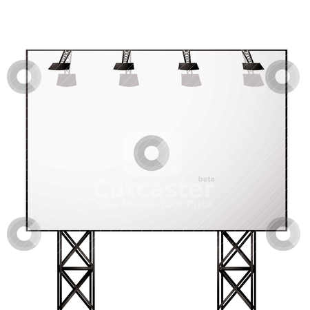 Billboard white shadow stock vector clipart, White blank billboard with black metal truss frame by Michael Travers