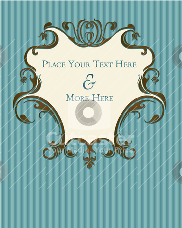 Vintage blue, floral-inspired plaque stock vector clipart, Vintage floral-inspired, french country, shabby-chic scrolls on blue strips by Jodi Baglien Sparkes