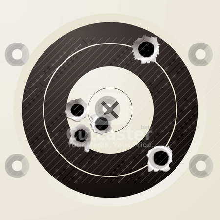 Target bullet stock vector clipart, Shooting target in black and off white with bullet holes by Michael Travers