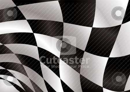 Checkered flag float stock vector clipart, Black and white checkered flag being waved in the wind by Michael Travers