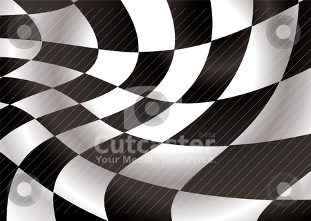 Checkered flap stock vector clipart, Checkered flag flapping in the wind with black and white squares by Michael Travers