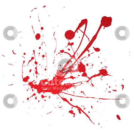 Splat corner spray stock vector clipart, Blood spray splat isolated over a white background by Michael Travers