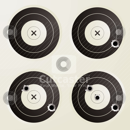 Target bullet set stock vector clipart, Collection of four targets with increasing amounts of bullet holes by Michael Travers