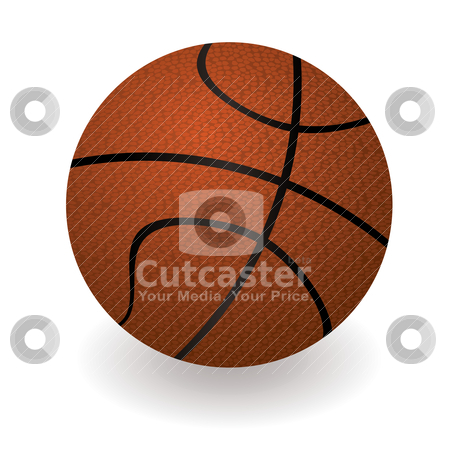 Basketball stock vector clipart, Illustrated orange basketball with black lines and a drop shadow by Michael Travers