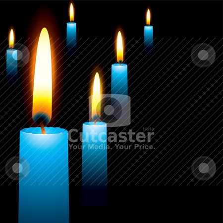 Blue candle stock vector clipart, Wax blue illustrated candles laid out in a random manner religious service by Michael Travers