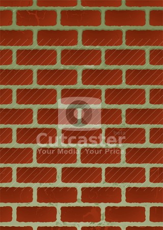 Brickwall stock vector clipart, Red brick illustrated wall with shadow and aged effect by Michael Travers