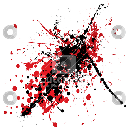 Blood splat with black stock vector clipart, Red and black ink splat with blood like dribble by Michael Travers