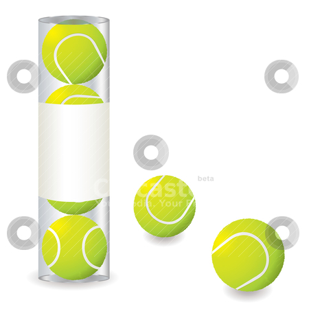 Tennis stack stock vector clipart, Stack of tennis balls in a plastic tube with some single balls by Michael Travers