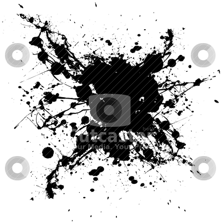 Inky black splat stock vector clipart, Black and white ink splat with random shapes and dirty grunge effect by Michael Travers
