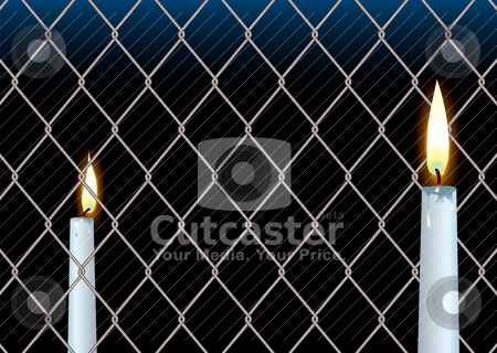 Wire fence candle stock vector clipart, Wire fence seperating two wax candle showing hope and peace by Michael Travers